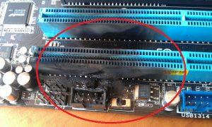 Defectare placa de baza - placa de baza arsa