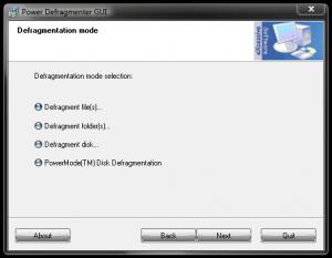 Modul de utilizare al programului Power Defragmenter - Mode