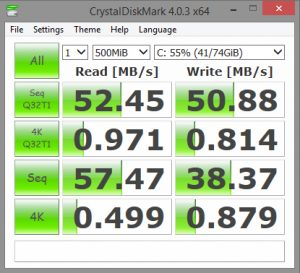 Avantajele utilizarii unui SSD - Test citire-scriere HDD